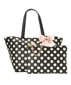 Another great find on #zulily! Black & White Polka Dot Tote & Clutch #zulilyfinds