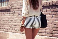 blue + white stripe shorts
