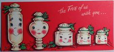 1950s Gibson Candy Jars-Vintage Christmas Card