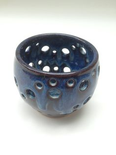 Blue Handmade Ceramic Luminary or Candle Holder for by JaysClay, $14.00
