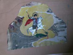 Kapadokyalı Saint  George çizimim ebrulu deri üzerine