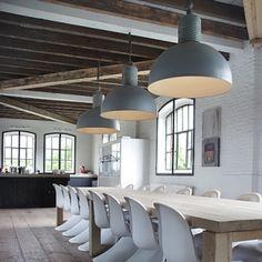 grote industriele hanglamp - grote hanglampen - kleur grijs - koepellamp - koepellampen.