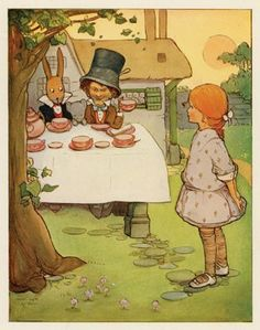 Mad Hatter's Tea Party by Mabel Lucie Attwell, Antique Print