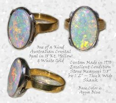 Ring Huge Full Spectrum Pin Fire Crystal Australian Opal 2 Tone 18 KT Gold ~ R C Larner Buttons at eBay & Etsy        http://stores.ebay.com/RC-LARNER-BUTTONS