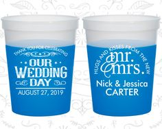 Our Wedding Day, Color Changing Cups, Hugs and Kisses from the new Mr and Mrs, Mr and Mrs Wedding, Blue Mood Cups (550)