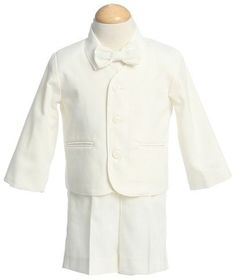 Boys Eton Suit - Ivory (6-9 Month) - G710IVORY by Lito. $39.99. Fabulous ivory boys eton suit is perfect for any occasion. This boy's dress clothes set features four pieces; elastic back waist shorts - ivory boys eton suit jacket - eton style shirt and boys ivory bow tie. Content: 65% poly 35% cotton machine wash cold tumble low no bleach. For best results we recommend dry cleaning. Perfect boys dress clothing for easter - weddings or any special occasion.