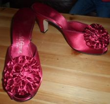 VTG DANIEL GREEN Hollywood Glamour Cranberry Satin Shoes Slippers 7 B  7.5 B NEW