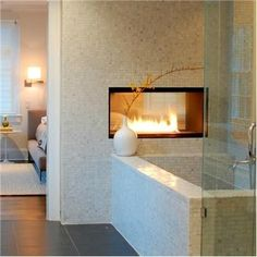 fireplace in the | http://bathroomdesigncollections.blogspot.com