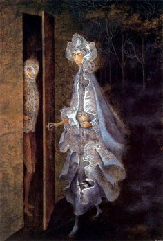 THE ENCOUNTER, Remedios Varo Uranga Spanish-Catalan born Mexican para-surrealist painter and anarchist) Art And Illustration, Illustrations, Guache, Art Database, Salvador Dali, Surreal Art, Oeuvre D'art, Dark Art, Les Oeuvres