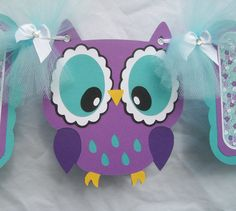 Purple owl baby shower banner its a girl por NancysBannerBoutique