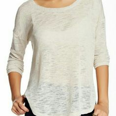 Lush lightweight hi-lo sweater Gauzy knit and drop shoulders offer shabby chic style in this pullover.  New with tags Size small ( also avail in med & lrg) Scoop neck Long sleeves  Hi-lo hem  Approx. 26 inches in length, 30 inches longest length  68% rayon 32% polyester Color: oatmeal Lush Sweaters