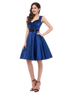 Grace Karin Stock 1950s Retro Knee Length Swing Rockabilly Dresses