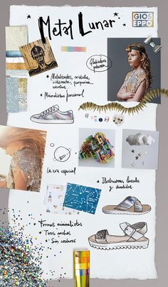 Panel de Tendencias Gioseppo Kids PV16 - Metal Lunar.  Trends Board #SS16 #SpringSummer16 #Inspiration #Glitter #KidsFashion #Shoes