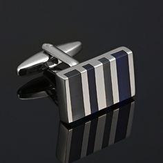 Stunning Modern Zebra Silver Stainless Steel Enamel Cufflinks for Men   RnBJewellery