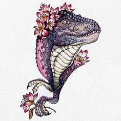 69 ideas for flowers watercolor illustration colour Dinosaur Sketch, Dinosaur Drawing, Dinosaur Art, Cute Dinosaur, T Rex Tattoo, See Tattoo, Jurassic World, Flower Tattoos, Hand Tattoos