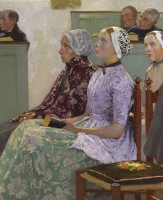 Sunday Mass (c.1886). Gari Melchers (American, 1860-1932). Oil on canvas. The painting shows the interior of a church, possibly the Reformed Church of Egmond-Binnen. The attention given by Melchers to depicting the different figures demonstrates Melchers' qualities as a storyteller. Not only their faces, but also their poses are carefully depicted. Their traditional Dutch clothes are also shown to the smallest detail.