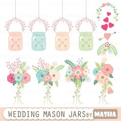 Mason Jar Clipart WEDDING MASON JAR With Clip Art Floral Bouquets Border Lace Ribbons For Wedding Invitations