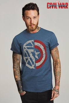 Buy Blue Captain America T-Shirt from the Next UK online shop