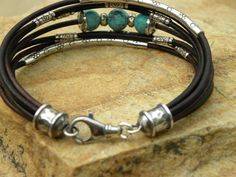 Turquoise Bracelet Chocolate Brown Leather and by TANGRA2009