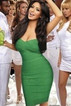 Green off-the-shoulder Elastic Bandage Dress