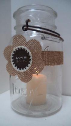 12 Burlap Rustic Mason Jar Wedding Primitive Candle Table Party Decorations N14 #BurlapBrides