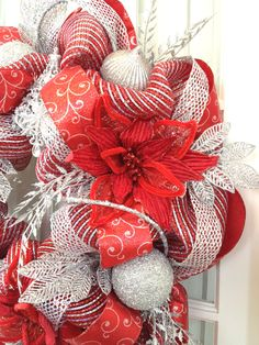 deco mesh wreath red silver metallic glamor rope ornaments lots of glam christmas - Red And Silver Christmas Decorations