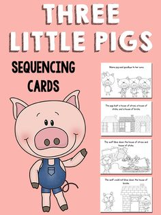 Three Little Pigs Sequencing Cards (free; from PreKinders) Sequencing Pictures, Sequencing Cards, Story Sequencing, Story Retell, 3 Little Pigs Activities, Three Little Pigs Story, Fairy Tales Unit, Fairy Tale Theme, Play Therapy