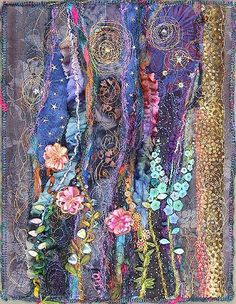 I ❤ it . . . Night Garden, small art quilt ~By molly jean hobbit
