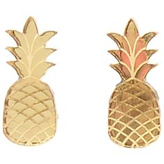 Mirror Gold Pineapple Acrylic Post Earrings found on Polyvore