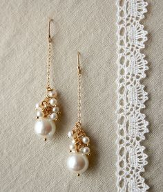 Drop Pearl Earrings, Bridal Jewelry, Wedding Earrings. $85.00, via Etsy.: