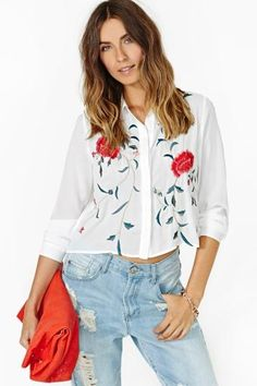 Wild Roses Crop Blouse