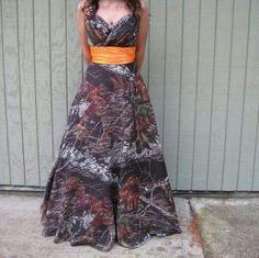 Mossy Oak Camo dress Strapless with Hunter orange waist Dresses Prom