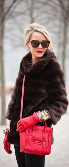 love everything happening here, especially the red leather gloves and matching purse.