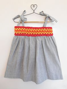 Buy Grey Yellow Orange Red Cotton Dress with Crochet Yoke Khadi Knitting Kids Dresses/Jumpsuits Fun in the Sun dresses details for Online at Jaypore.com