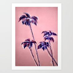 Maroon Leaves_Pastel and watercolor painting on colored paper Art Print