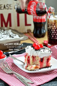 Cherry vanilla Coca-Cola poke cake recipe from our partner Cheryl. Just mix cherry jello with Coke and pour over vanilla cake - top with vanilla cream frosting and you've got a crowd-pleasing dessert in minutes.