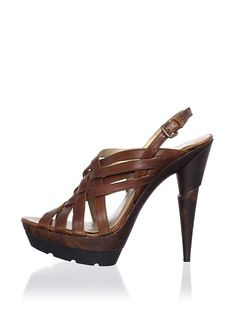 Stuart Weitzman Spray Platform Sandal. (Notice the shifted/displaced heel!)