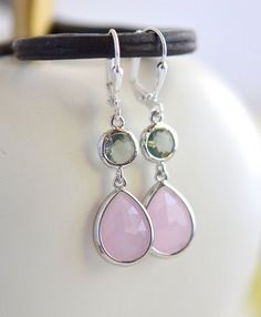 Soft Pink Teardrop and Charcoal Grey Jewel Drop Earrings by RusticGem.