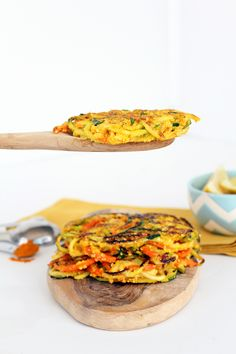 #GlutenFree Spiralized Vegetable Cornmeal Fritters