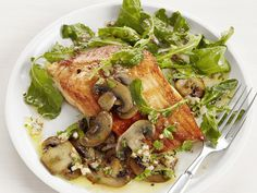 Arctic Char with Mushrooms from #FNMag #myplate #protein #veggies