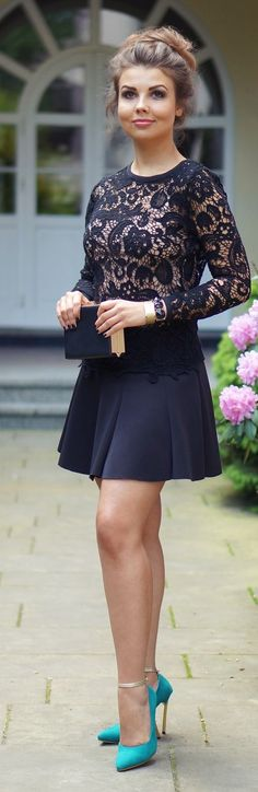 Navy Lace Top by A piece Of Anna