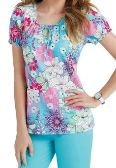 Med Couture In Full Bloom print scrub top. Main Image