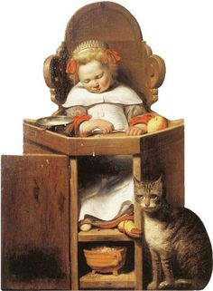 Johannes Verspronck - Boy Sleeping in a High Chair, 1654 Medieval Paintings, European Paintings, Grandma Moses, Antique Illustration, Medieval Art, Baby Prints, Vintage Children, Cat Art, Art History