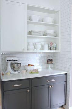 """Contemporary Kitchen with Ms International Arctic White Quartz, Amerock rochdale 3 3/4"""" centers cup pull in satin nickel"""