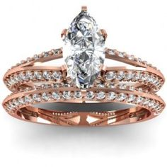 Marquise Split Shank Diamond Engagement Ring Bridal Set.