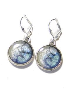 Blue Pearl Silver Disc Earrings Hand Painted Jewelry by JKCJewelry, $15.00