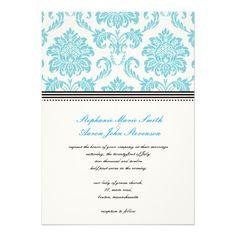 Turquoise Damask Wedding Invitation