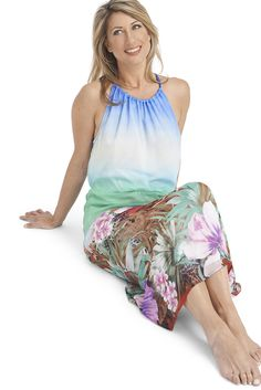 Beautiful flowing summer dress with vibrant tropical print