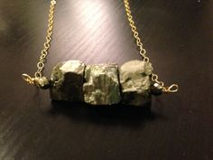 Pyrite Nuggets necklace by MariannFernanda on Etsy, $40.00