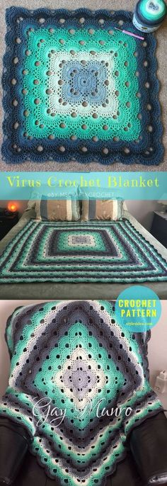 """Free Pattern Virus Crochet Blanket The Beautiful and timeless stitch used in many projects: crochet blanket, throw afghan, and crochet clothes. size: 48X48"""" 